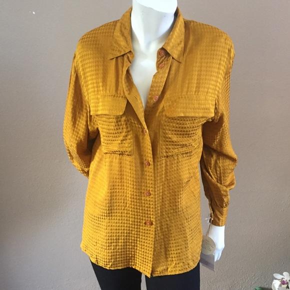 89c17e39066ded Liz Claiborne Tops | Vintage Gold Silk Blouse | Poshmark